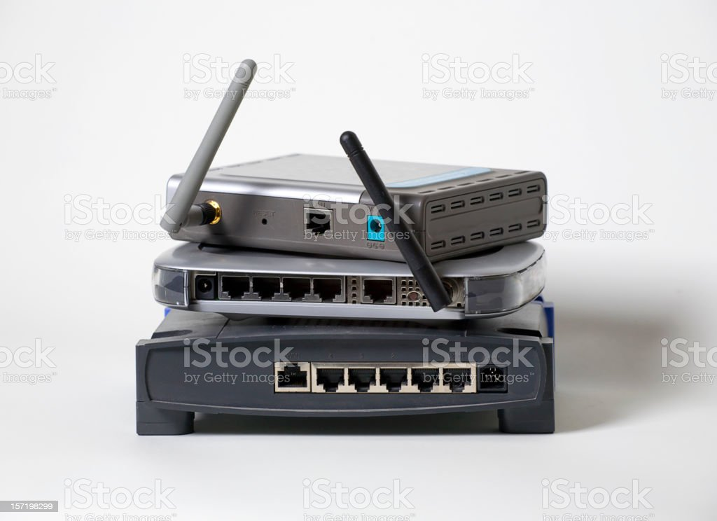 Stack of Wireless Routers stock photo