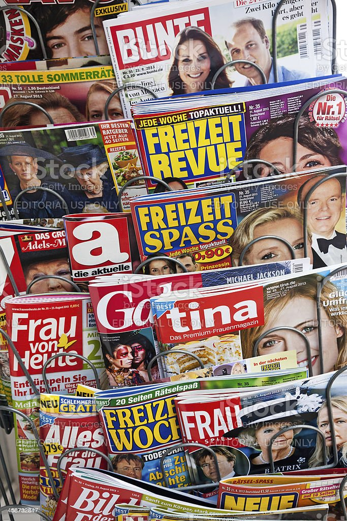 Stack of women magazines royalty-free stock photo
