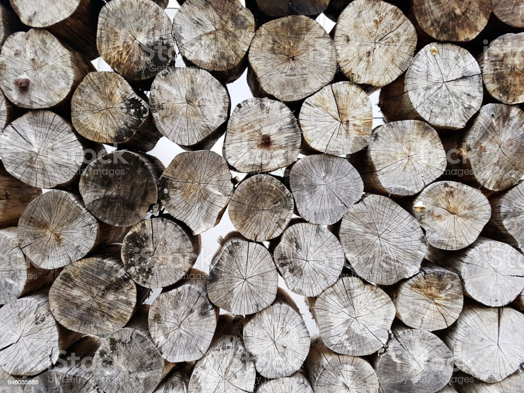 stack of wood logs storage stock photo