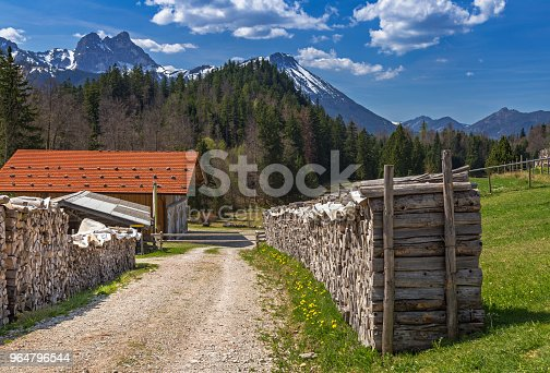 Stack Of Wood On A Mountain Farm Stock Photo & More Pictures of Allgau