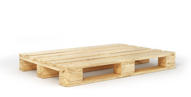 stack of wood pallets isolated on a white. 3d illustration - tavolozza foto e immagini stock