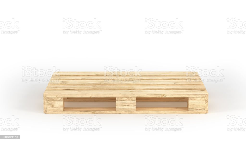 Stack of wood pallets isolated on a white. 3d illustration royalty-free stock photo