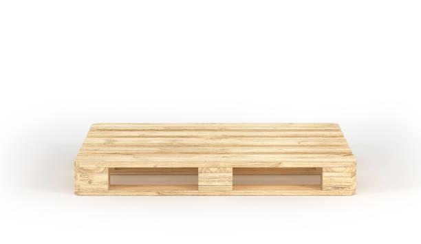 Stapel von Holzpaletten isoliert auf einem weißen. 3D illustration – Foto