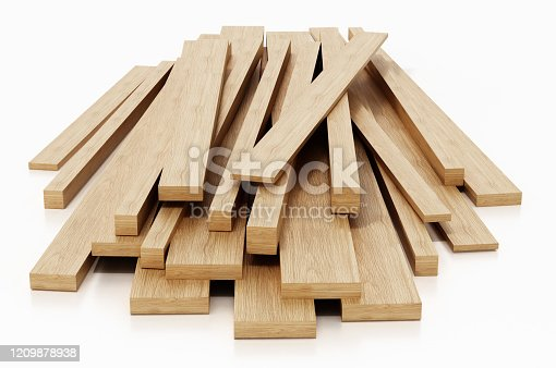 Stack of wood planks isolated on white.