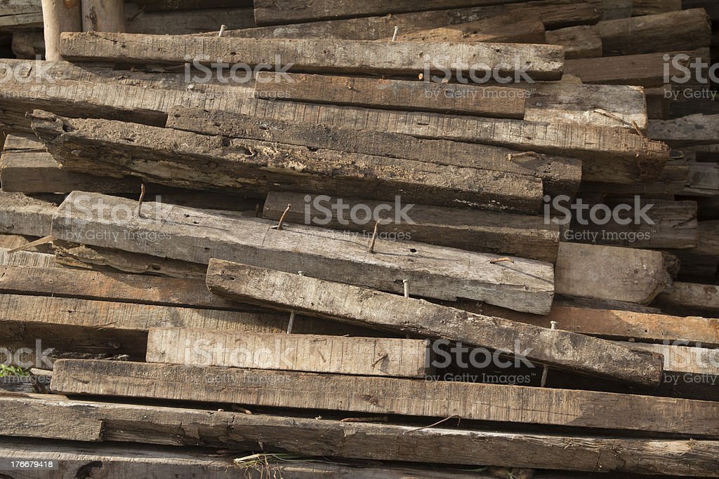 Stack of wooden bars at construction site royalty-free stock photo
