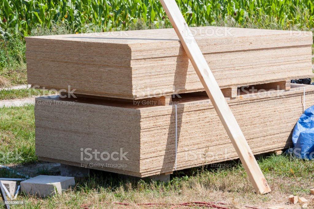 Stack of wooden board stock photo