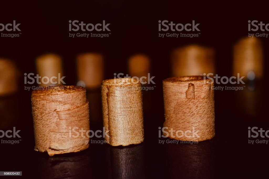 Stack of wooden rolls isolated photograph royalty-free stock photo