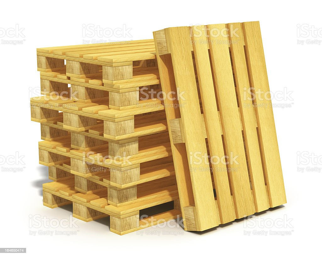 Stack of wooden shipping pallets royalty-free stock photo
