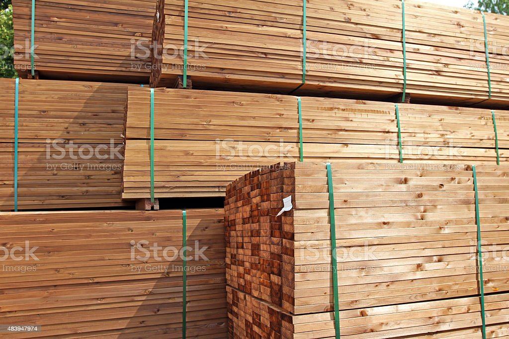 stack of wooden terrace planks stock photo