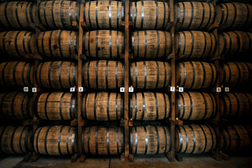 Wooden Whiskey Barrels in Lynchburg, Tennessee, USA