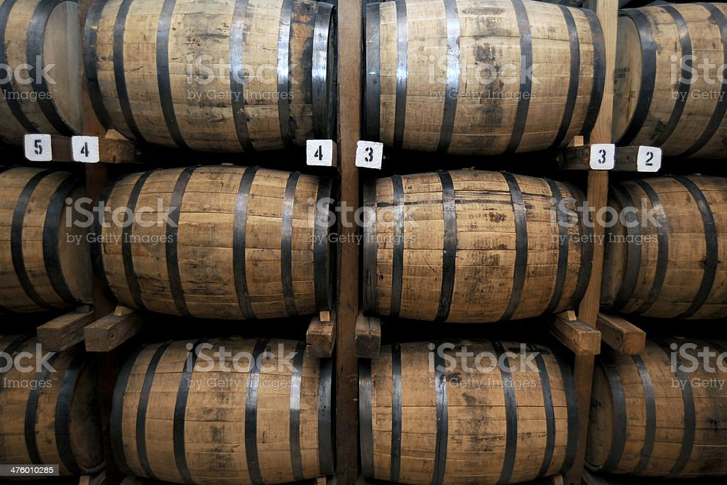 Stack of Wooden Whiskey Barrels stock photo