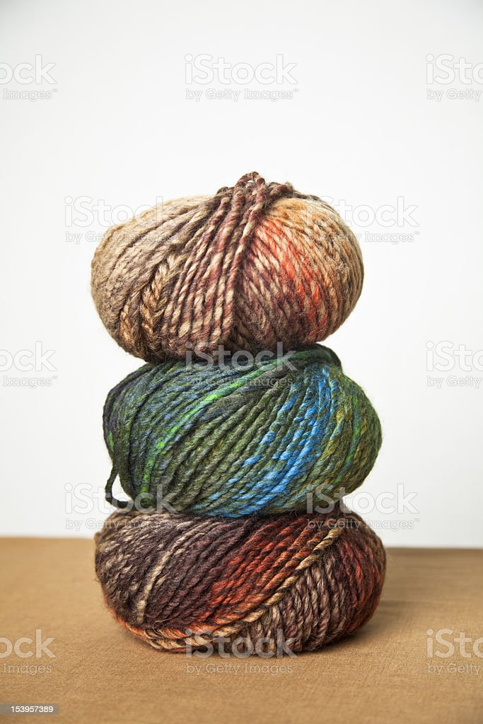 Stack of wool yarn balls stock photo