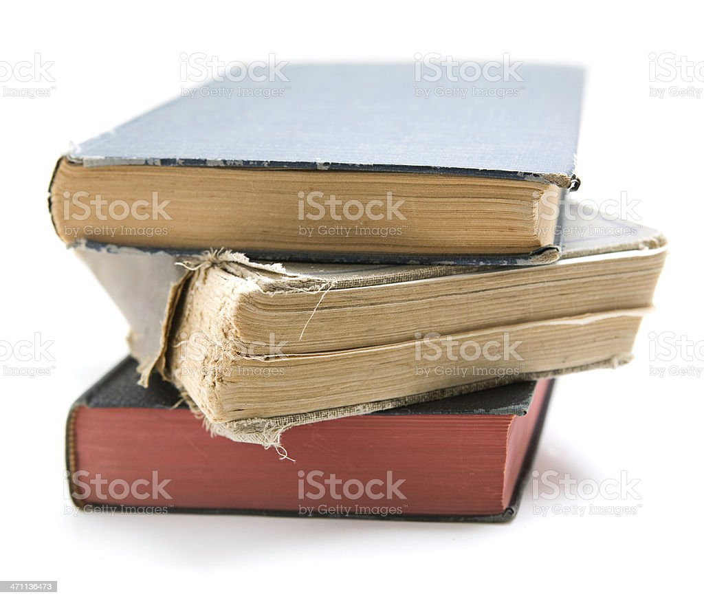Stack of Worn, Old, Vintage Books royalty-free stock photo