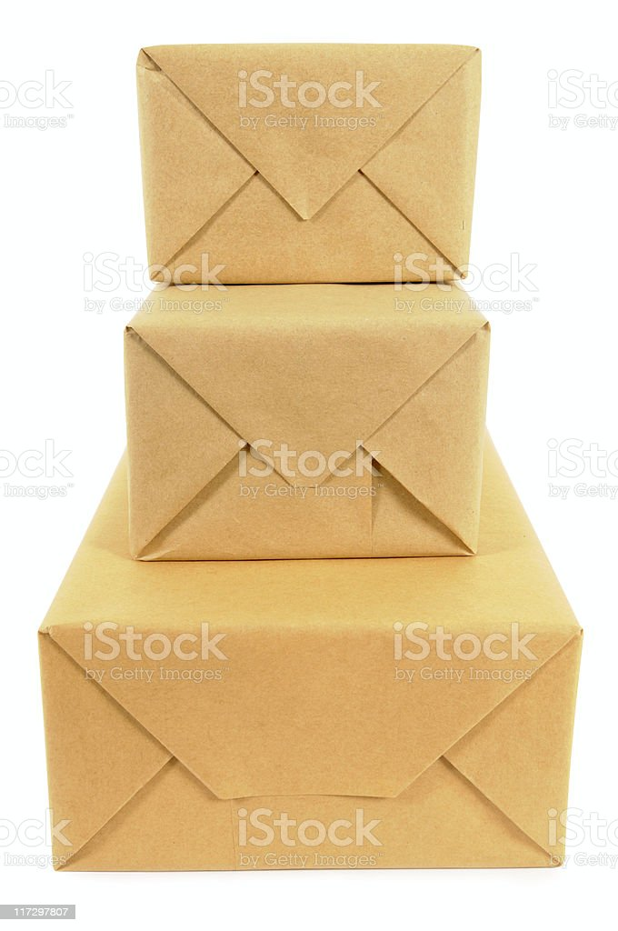 Stack of wrapped packages royalty-free stock photo