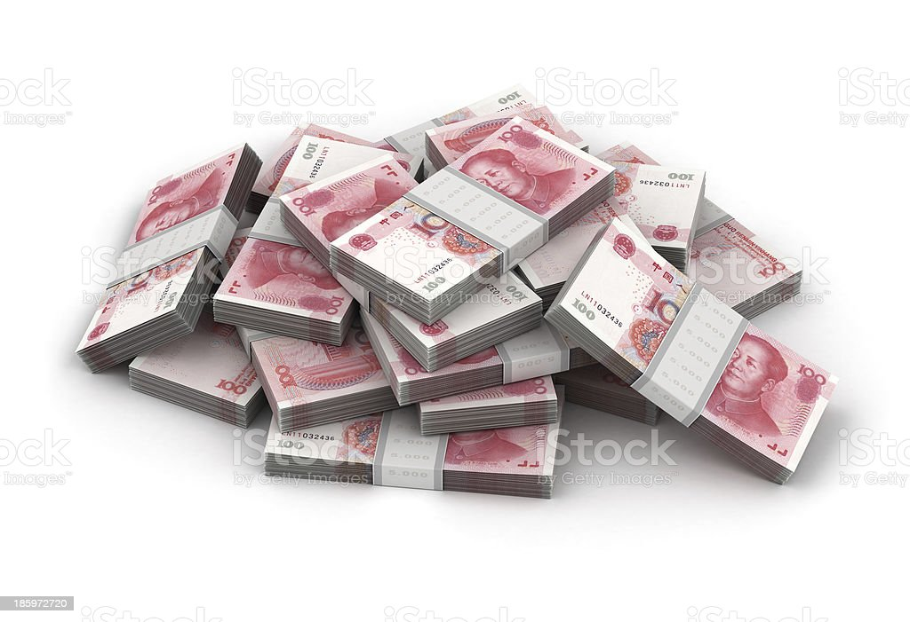 Stack of Yuan royalty-free stock photo