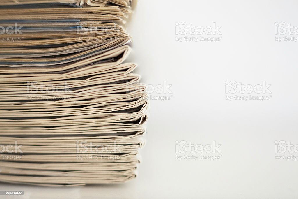 Stack old newspaper royalty-free stock photo