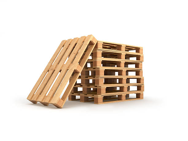 stack pallets isolated on a white background stock photo