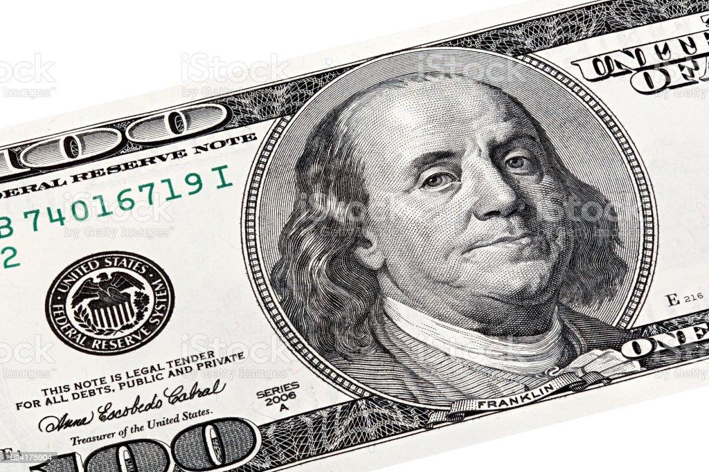 Stack photo of Benjamin Franklin, Federal Reserve System print o stock photo