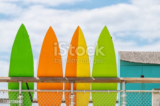 istock Stack row of multicolored colorful stand up surfing boards on railing fence with green orange and yellow color against blue sky lifeguard tower or rental shop 1153729340