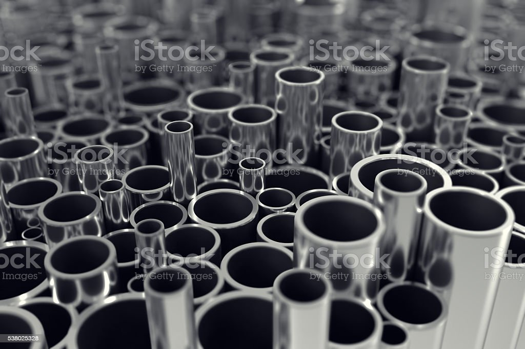 Stack steel pipes with depth of field effect. 3d illustration stock photo