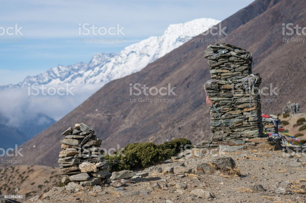 Stack stone up on hill at Dingboche village, Everest region, Nepal stock photo