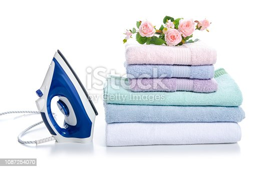 istock Stack towels with iron flowers 1087254070