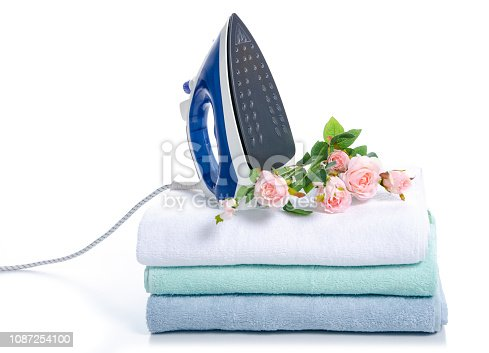 932671892 istock photo Stack towels with iron flowers 1087254100