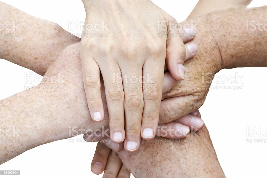Stack up of hands royalty-free stock photo