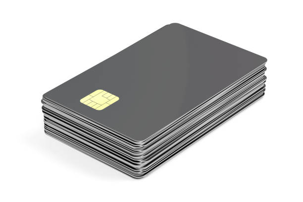 Stack with blank plastic cards with chip stock photo