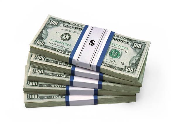 Stacked $100 Bills stock photo