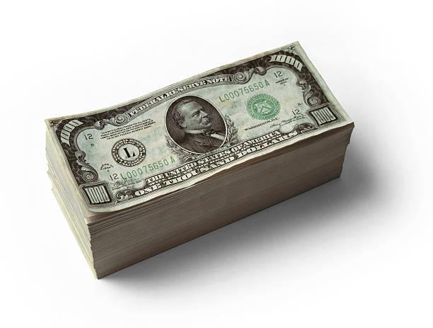 Stacked $1000 Bills stock photo
