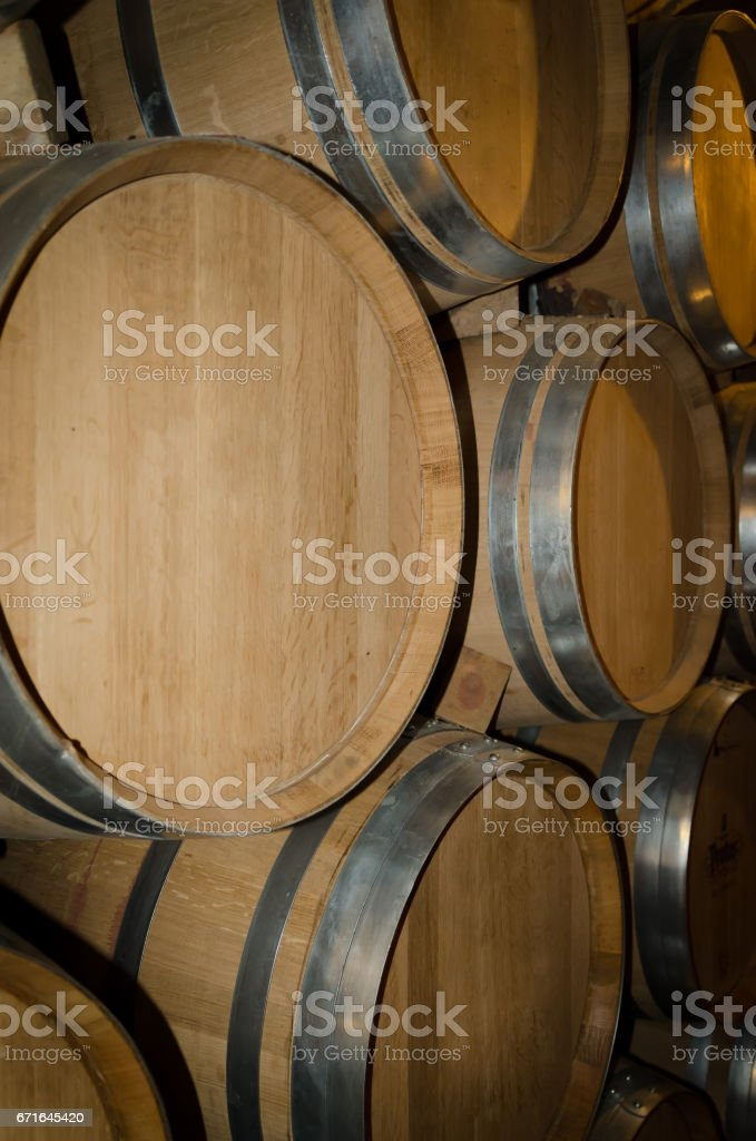 Stacked barrels stock photo