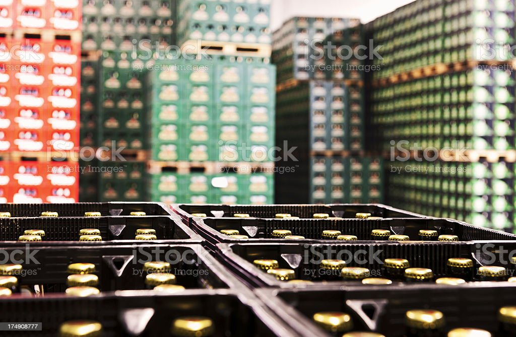 Stacked beer crates stock photo