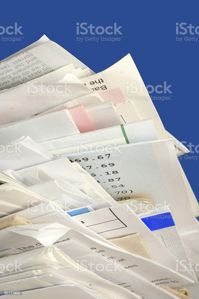 stacked bills stock photo
