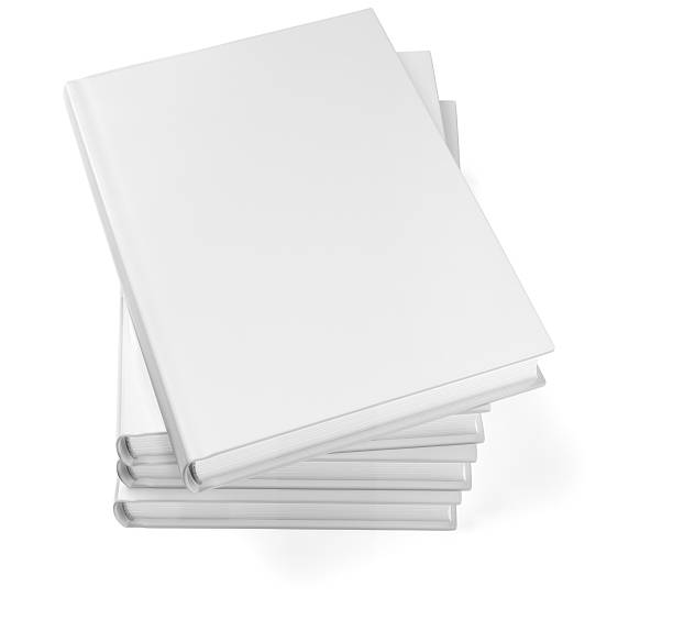 Stacked blank books isolated on white Blank book stack on white background. 3D modeling and rendering. Clipping path included. hardcover book stock pictures, royalty-free photos & images