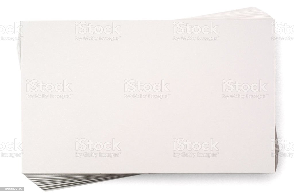 Stacked blank index card isolated on white royalty-free stock photo