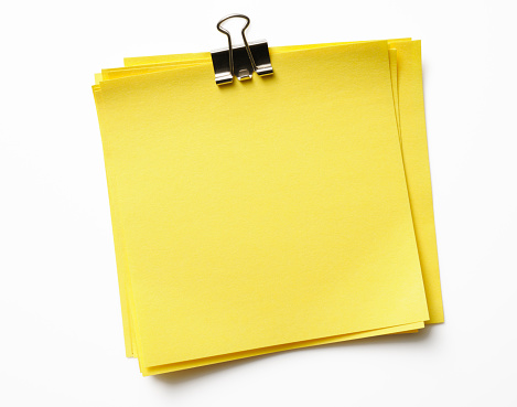 With CLIPPING PATH.Stacked blank yellow sticky note isolated on white background with clipping path.Studio shot.