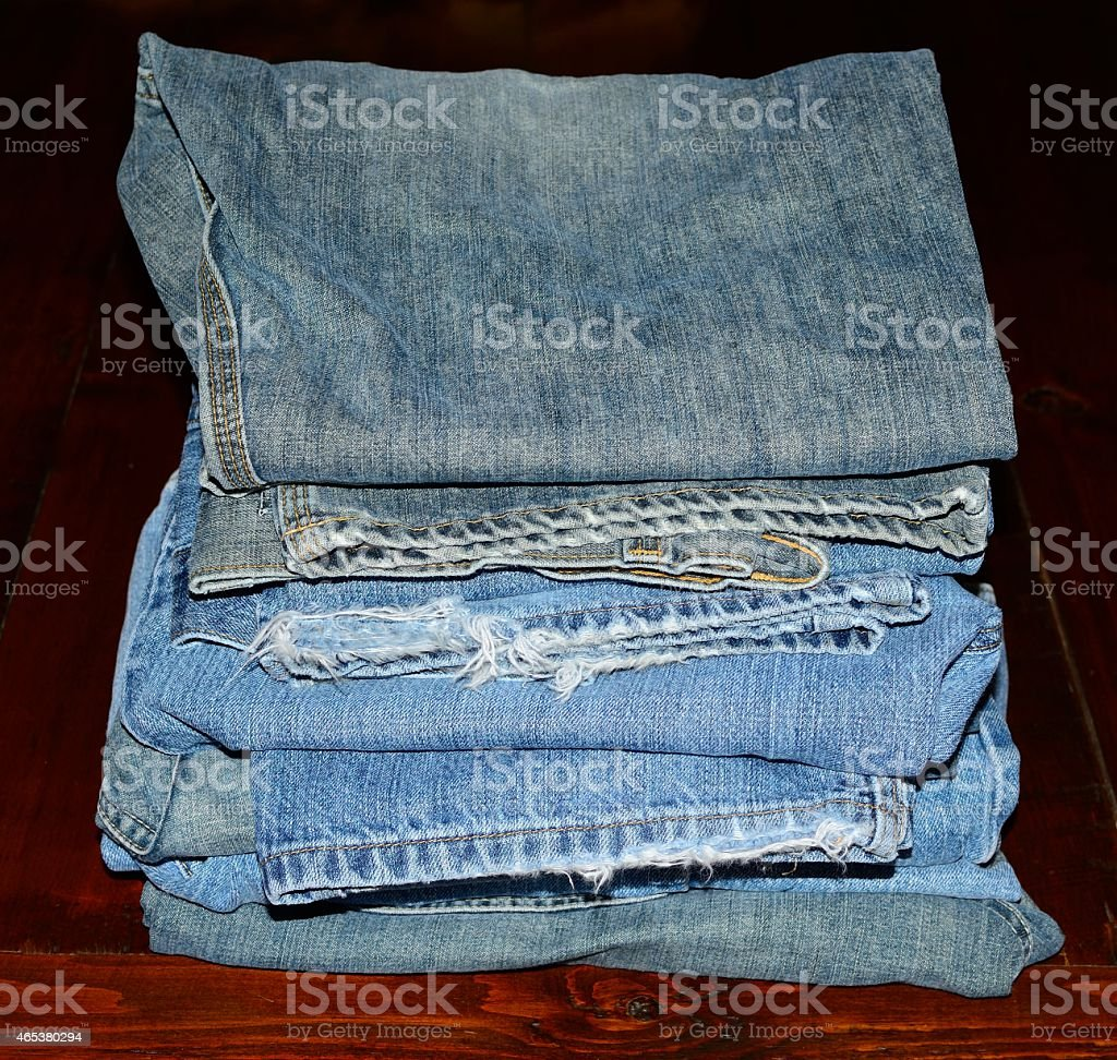 Stacked Blue Jeans stock photo