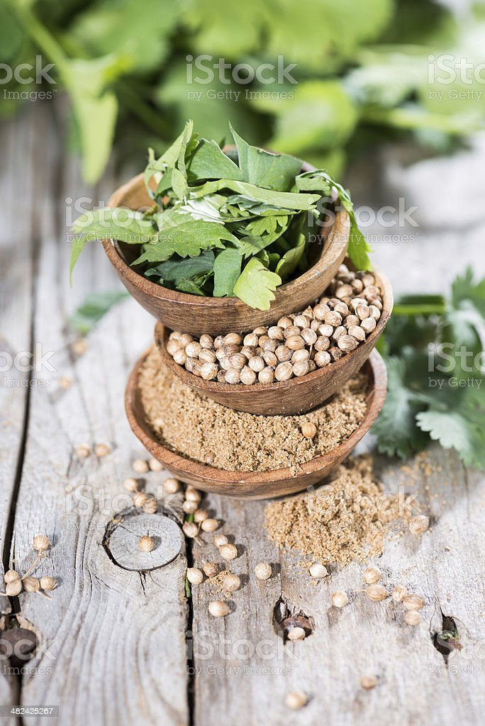 Stacked Bowls with Cilantro stock photo