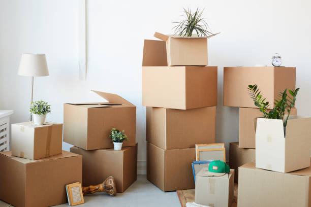 Stacked Cardboard Boxes Background stock photo