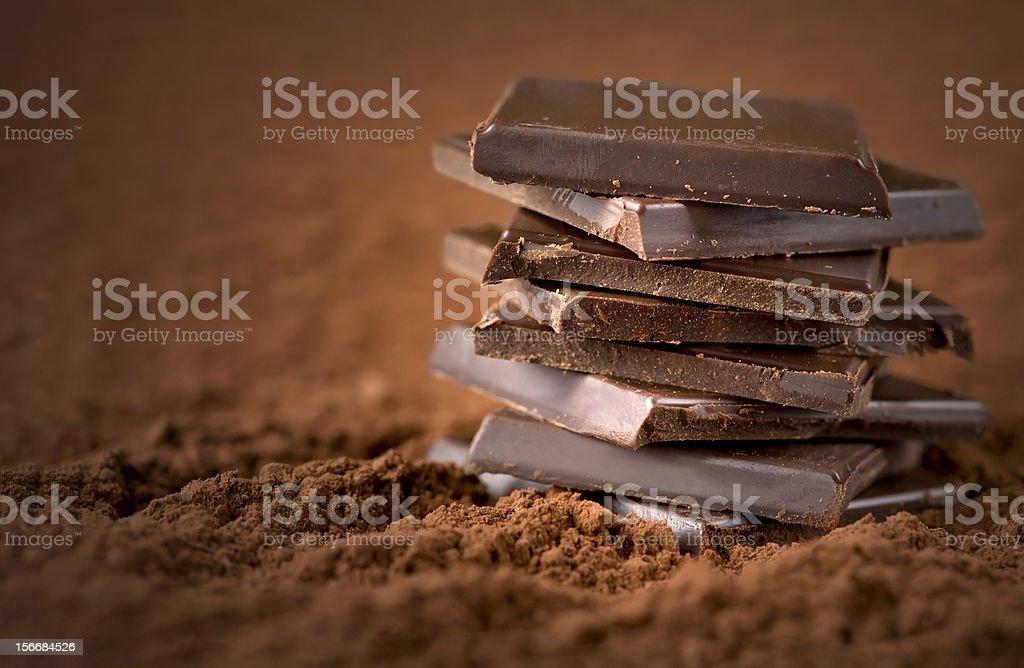 Stacked chocolate bars stock photo