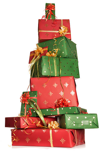 Stacked christmas gifts stock photo