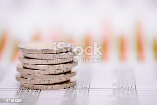 1158207931 istock photo stacked coins of Euro currency on financial chart 1167154355