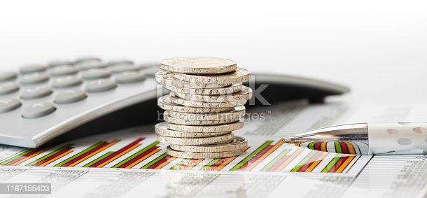 1158207931 istock photo stacked coins of Euro currency on financial chart 1167155403