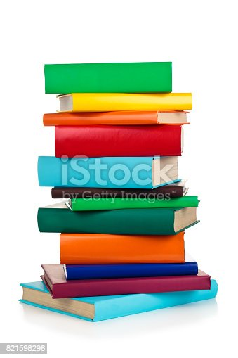 istock Stacked colorful books. 821598296