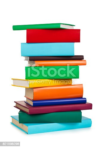 istock Stacked colorful books. 821598298