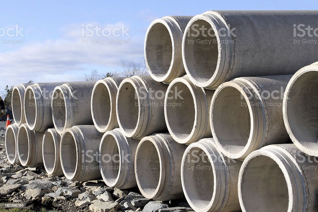 Stacked Concrete Culverts royalty-free stock photo