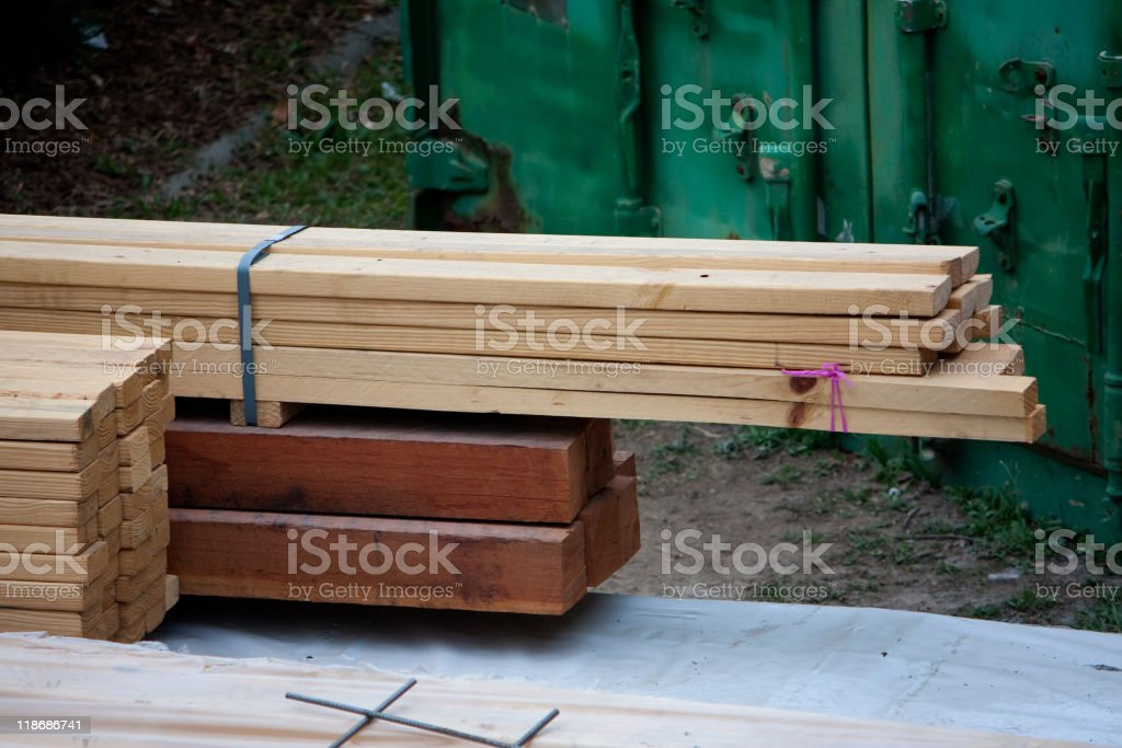 Stacked Construction Timber royalty-free stock photo
