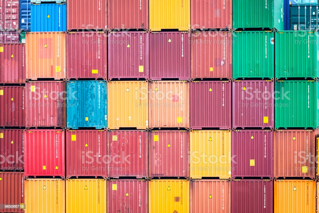 Stacked containers in port terminal royalty-free stock photo