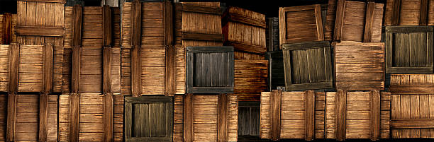 Stacked Crates Wide Panorama of Stacked Wooden Boxes smuggling stock pictures, royalty-free photos & images